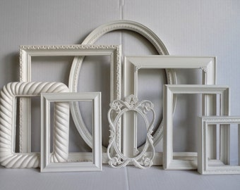 White Shabby Chic Picture Frame Set Of 8 - Vintage Ornate - Cottage White Distressed - Wedding - Baby Nursery - Gallery Wall Collection