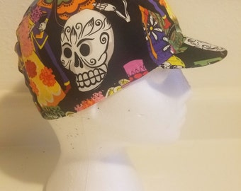 """Hand made """"Day of the dead"""" 3 panel cycling cap"""