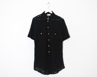 black floral lace button-up tunic / stretchy short sleeve collared blouse / size M / L