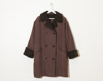 on sale - brown shearling double breasted coat / oversized button-up jacket / size L