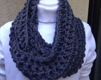 Chunky Infinity Scarf Cowl Eternity Circle Loop Fashion Crochet Charcoal