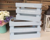 Wooden crates with handles - set of two - kitchen storage - wine rack - hand painted blue Champagne