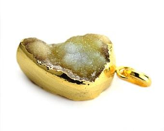 Rough Geode Druzy Pendant 22k Gold Electroplated Gemstone Druzy Necklace Pendant GemMartUSA (NP-50915)