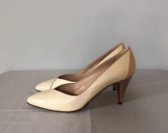 bruno magli cream white high heels | leather italian pumps | 9.5