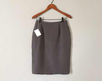 slate grey silk skirt | silk pencil skirt