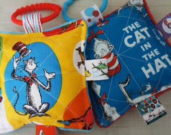 Baby Girl toys, crinkle toys, Dr .Seuss theme Cat in the Hat,  set of 2 with teething links.  5 inch squares, babies love these.