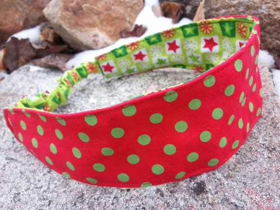 Christmas Reversible Headband, Red & Green Polka dot Headband