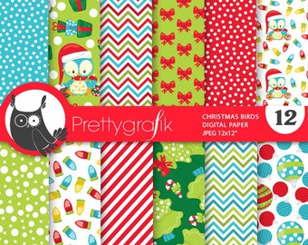 80% 0FF SALE Christmas birds digital paper, classic christmas papers commercial use, scrapbook papers, scrapbooking papers - PS775