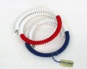 Vintage Mod Choker Red White Blue Set of 2 Wired Chokers by Encore