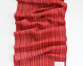 RESERVED LISTING - Handwoven Scarf; Red Scarf; Colorful Striped Scarf; Bamboo Scarf