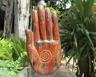 Large Carved Wooden Hand Asian Buddha Sign of protection