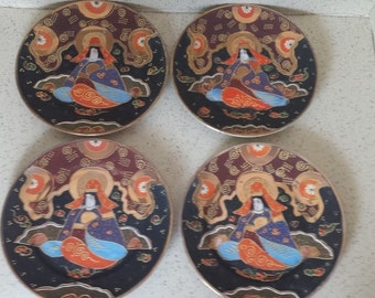 Sale Satsuma Luncheon Plates  Hand Painted - Set of 4