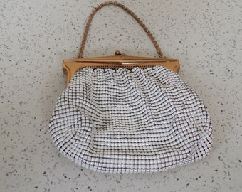 Whiting and Davis Beadalite White Purse