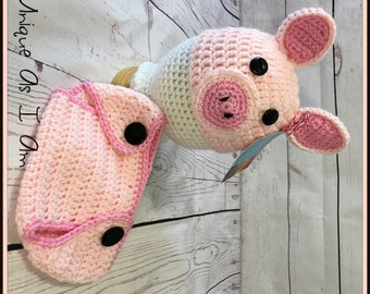 Crochet Baby Pink Piggy Hat and Diaper Cover/Photo Prop