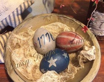 Primitive Americana Patriotic Egg Bowl Fillers Set of 3