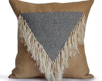 Boho Throw Pillows, Geometric Decorative Pillow Cover, Shaggy Pillows, Grey  Throw Pillows,