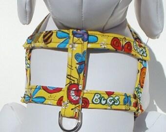 Custom Dog Harness- Dog Clothes - Dog Harness -  Bugs - Custom Dog Harness  - Designer Dog Fashion - Pet Apparel - Small Dog Harness