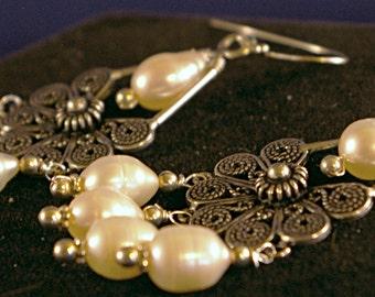 Flower Chandelier with Teardrop Potato Pearl Earrings
