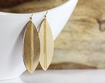 Gold Leather Earrings with 14k Gold Chain