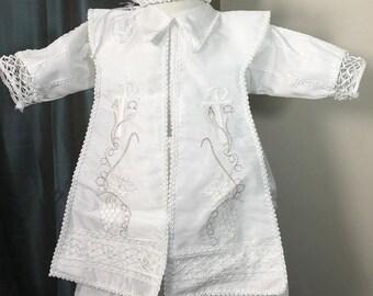 Ben white Baptism outfit for Boy, Four piece Christening set, Blessing outfit, Traje de Bautizo, Ropon del papa para nino, Ajuar Bautismal