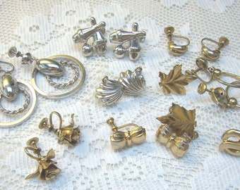 "Clearance...Nine Pairs ""CORO"" Screw Back Earrings...Flowers...Bowling Pins...Bows...Resale...Re-Vintage"