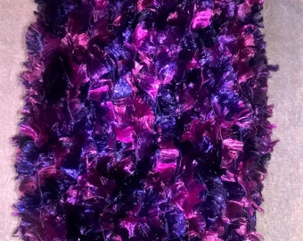 Knitted Purple Scarf - Goes from Light to Dark Purple