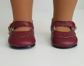 Burgundy Mary Jane Flats for 18 inch dolls