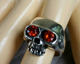 skull  sterling silver ring steampunk pirate gothic punk pirate