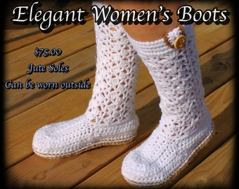 Crochet Women's Boots, Crochet women's slippers, Slipper boots with Jute soles, Lacey Boots, Crochet Boots with soles, Gifts
