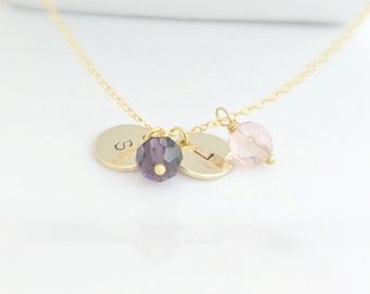Birthstone Necklace, Gold Initial Birthstone Necklace, Initial Necklace, Gold Jewelry, Birthday Gifts, Personalized Birthstone, UK Seller