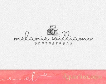 Photography logo design - sketched camera photography watermark - Premade logo - Camera logo DIY Photoshop PSD template