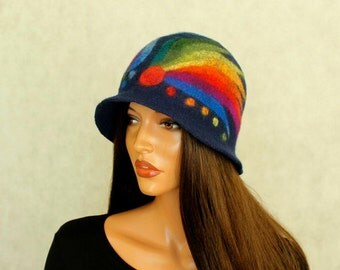 Navy blue and rainbow hat felted ,Fancy hat  Multicolor hat cheerful hat Fairytale hat Felt cloche Felt hat Hand felted