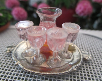 Dollhouse Miniatures - Rose or Zinfandel Wine in Carafe with 4 Wine Glasses Filled on Tray
