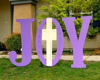 Easter Religious Outdoor Yard Decoration Wood Sign Joy With