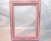 Pink distressed wood picture frame, approx. 5 x 7 inches, cottage chic, shabby chalk paint, hand painted, no glass or backing included