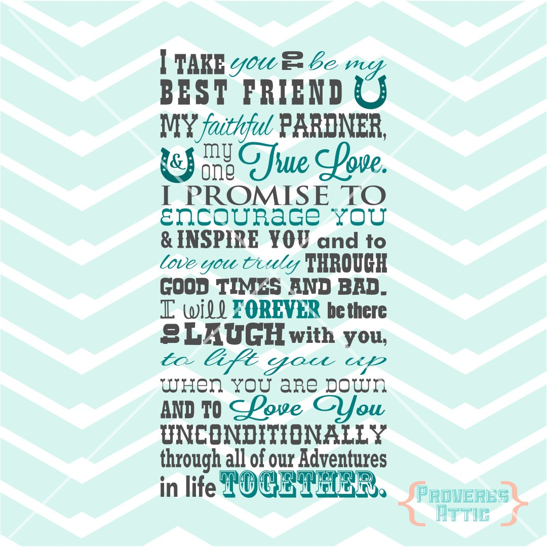 Wedding Readings For Friends: I Take You To Be My Best Friend Quote Western Style