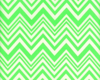 Camelot -- Neon & On --- Zig Zag -- Neon Green Chevron --- Fabric By The Yard
