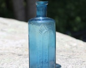 Vintage Octagon Shape 'Rumford Chemical Works' Pat. March 10, 1868 Blue Glass Bottle