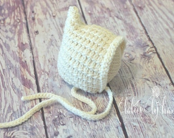 Ready to Ship, Baby Winter Bonnet, Blue Baby Bonnet Winter Hat, Newborn Winter Hat, Newborn Crochet Holiday Hat, Christmas Photo Prop Hat