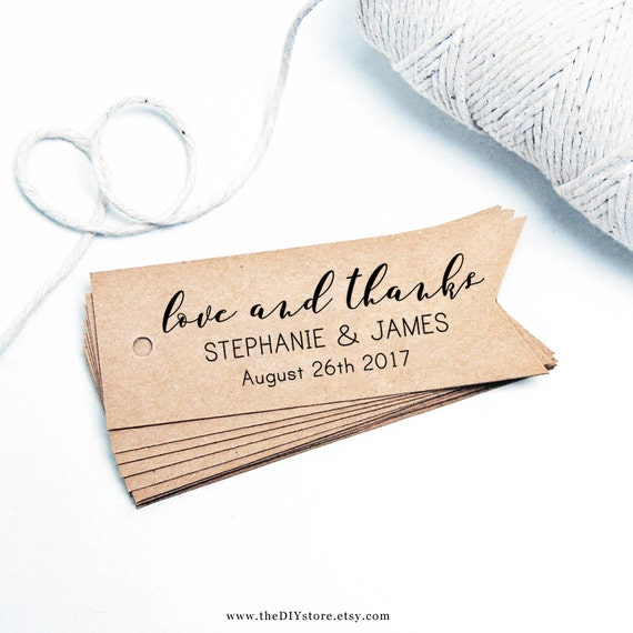 """Favor Tag Printable, love and thanks, Text Editable, 1.2H"""" x 3W"""", Instant Download, Favor tag, Thank You Tag, Wedding Tags"""