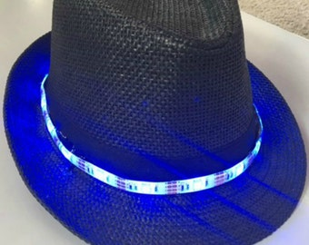 LED Fedora Hat - Battery Operated - 20 Colors 19 Modes  5050 Strip