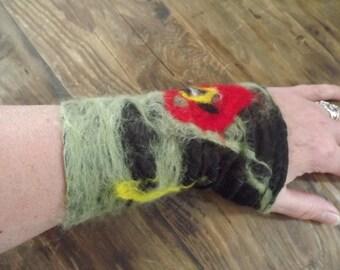 Woodland, Faery, Elven, Poppy, Nuno Felted Wrist Warmers, Cuffs. Hippy Pixie Felt.