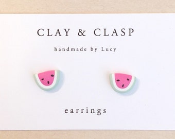 Watermelon Earrings - beautiful handmade polymer clay jewellery by Clay & Clasp
