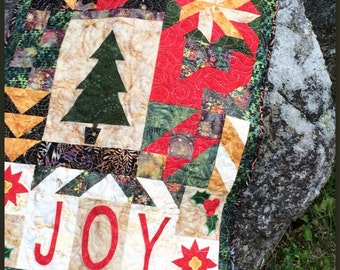 Joy, Christmas Sampler Quilt, Country Quilted Wall Hanging, Christmas Wall Art, Holiday Home Decor, Holiday Wall hanging, Quiltsy Handmade
