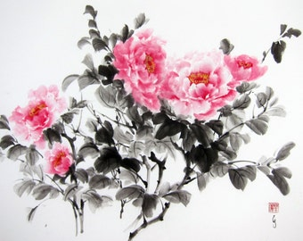 Japanese Ink Painting Japanese art Sumi-e Suibokuga Rice Paper painting Oriental art Large 24x17 inch Pink Tree Peonies