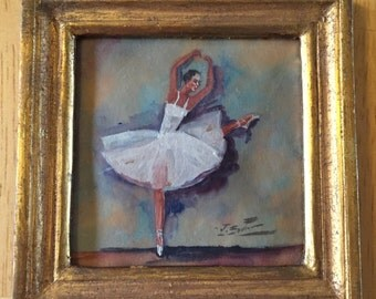 Vintage Miniature Painting of a Ballerina ... Free Shipping...20% Off Coupon...TAKE20