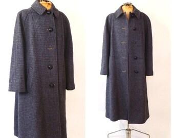 SHOP SALE Vintage 1950s Purple Harris Tweed Coat Handwoven Scottish Wool Coat 50s Winter Outerwear 1960s Tweed Coat Classic Womens Harris Tw