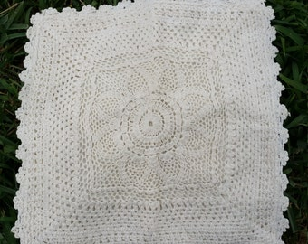 """Vintage Shabby Victorian Farmhouse French Chic Crochet Doilie Pillow Cover~Ivory~13"""" X 13"""""""