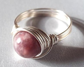 Lepidolite Ring, Wire Wrap Ring, Mauve Ring, Purple Stone Ring, Wire Rings Under 20, Unique Stone Ring, Light Purple Ring, Silver Gemstone