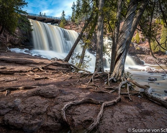 Gooseberry Falls, Waterfall Photography, Minnesota State Park, North Shore, Lake Superior, Nature Spirits, Green Brown White, Cedar Trees